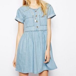 ASOS Denim Button Through Smock Dress